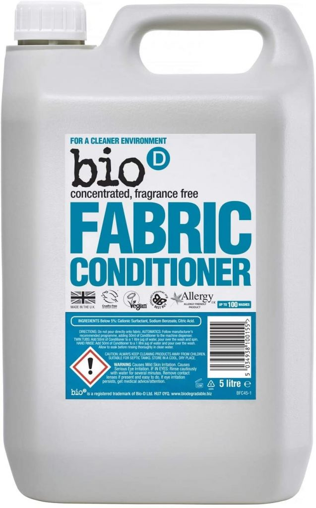 Bio D Concentrated Fragrance Free Fabric Conditioner 5 Litre