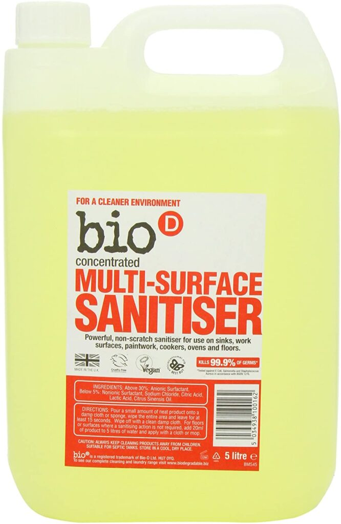 Bio D Concentrated Multi Surface Cleaner Sanitiser - Floor Cleaner 5 litre
